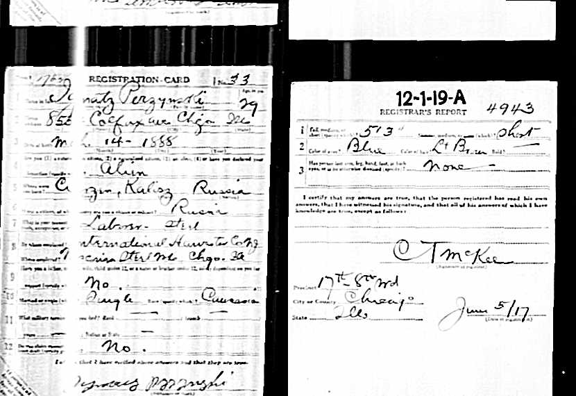 Perzynski Ignaz WW1 registry One patron/client gives 3 endorsements for Poland Genealogy research!