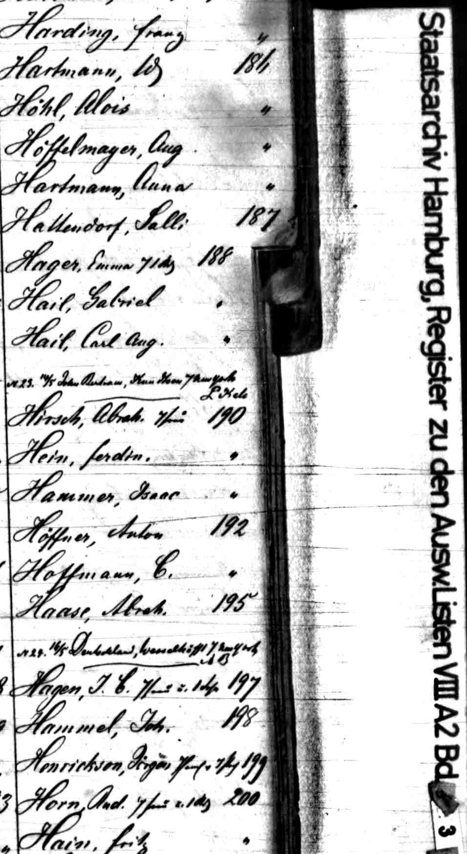 1860 Hamburg Direct Index Passenger List 16 May