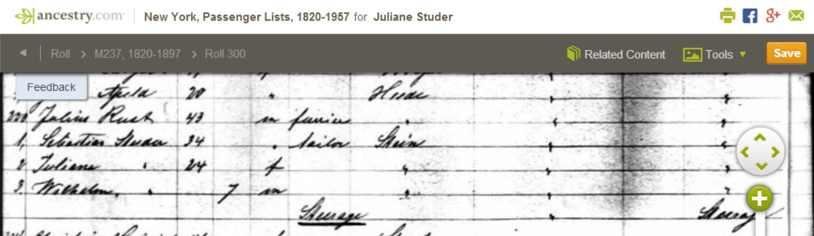 1868 Aug 31 Studer NY Passenger List German Genealogy research case cracked; patron cannot see it