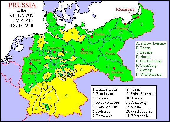 Prussia or Preussen in green showing pockets of nonPrussia Bark up the right German genealogy geographic roots, branches & trees! Heinzendorf? Which one? Meyers (entire German empire) gazetteer? Schlesien gazetteer? Posen gazetteer? What sayeth the family rumors? POSEN!