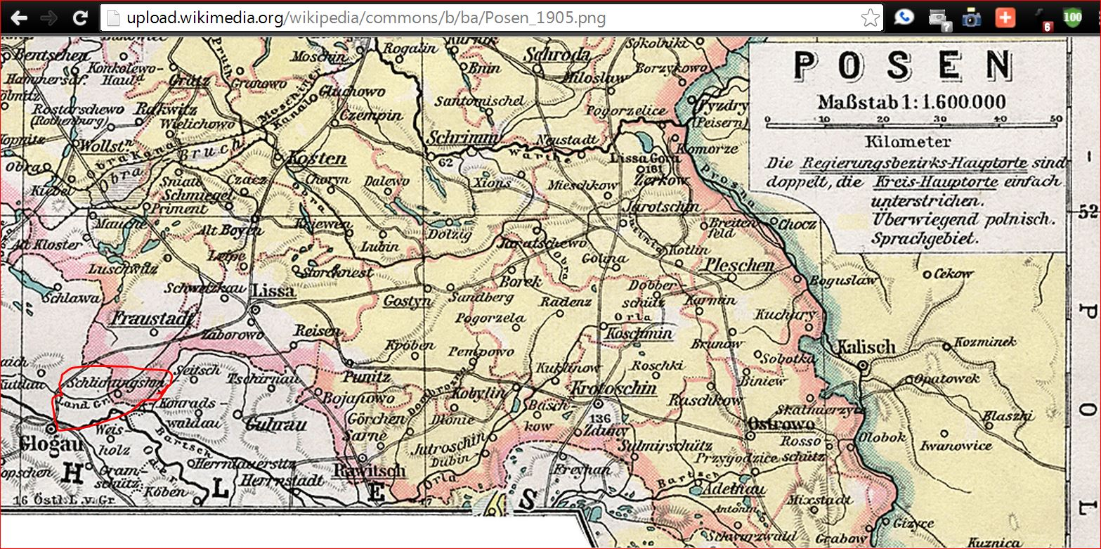 Posen large Schlichtingsheim in red on SW border adjacent to Schlesien n Oder river Bark up the right German genealogy geographic roots, branches & trees! Heinzendorf? Which one? Meyers (entire German empire) gazetteer? Schlesien gazetteer? Posen gazetteer? What sayeth the family rumors? POSEN!