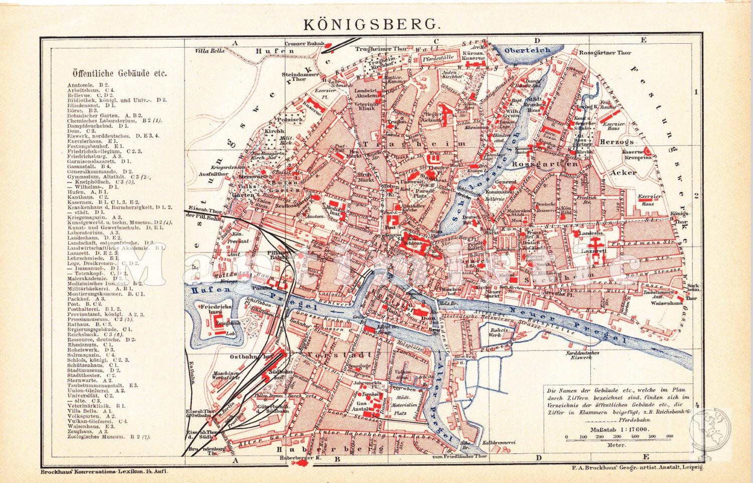 1905 Königsberg Ostpreussen map Adreßbuch [Addressbücher; Directories] der [of the]  Haupt  [Capital] und Residenzstadt [residential city] Königsberg [lka Kaliningrad] in Pr[eussen; Prussia] & der [of the] Vororte [suburbs]. Königsberg, Pr[eussen; Prussia], [1872, 1877, 1878, 1899, 1901, 1906]: [Author] Hartung, [sein Lebenslauf; his Lifespan] 1847 1919