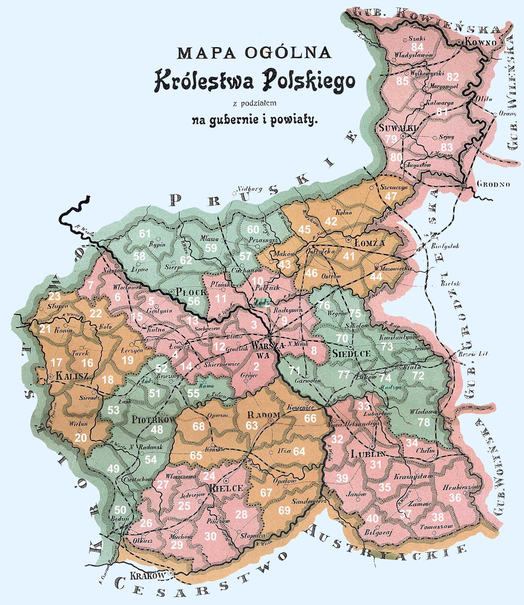 1907 Poland powiaty